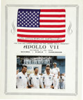 Explorers:Space Exploration, Apollo 7 Flown Small American Flag, Signed by Astronaut WaltCunningham. ...