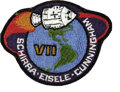 Explorers:Space Exploration, Apollo 7 Flown Crew Patch, Signed by Commander Walter Cunningham....