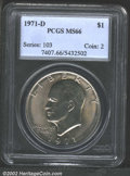 Eisenhower Dollars: , 1971-D $1 MS66 PCGS. Champagne-lilac iridescence overlays ...