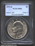 Eisenhower Dollars: , 1972-D $1 MS66 PCGS. Fully lustrous and untoned with a ...