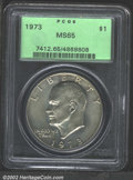 Eisenhower Dollars: , 1973 $1 MS65 PCGS. This is a smooth, lightly toned ...