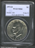 Eisenhower Dollars: , 1973-D $1 MS66 PCGS. Minimally patinated with a bright, ...