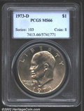 Eisenhower Dollars: , 1973-D $1 MS66 PCGS. This golden-gray Gem is mostly ...
