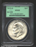 Eisenhower Dollars: , 1973-S $1 Silver MS68 PCGS. A virtually perfect example ...