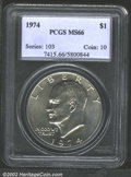 Eisenhower Dollars: , 1974 $1 MS66 PCGS. The golden tinged features are crisply ...