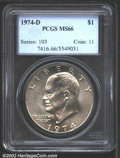 Eisenhower Dollars: , 1974-D $1 MS66 PCGS. Mostly untoned with a few swirls of ...