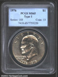 Eisenhower Dollars: , 1976 $1 Type One MS65 PCGS. Lightly abraded, yet less so ...