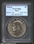 Eisenhower Dollars: , 1976-D $1 Type Two MS66 PCGS. Lightly toned with good ...