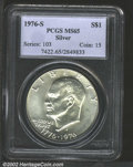 Eisenhower Dollars: , 1976-S $1 Silver MS65 PCGS. Type One reverse, with thick ...