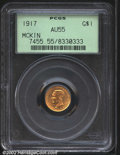 Commemorative Gold: , 1917 $1 McKinley AU55 PCGS. The reverse is sharply ...