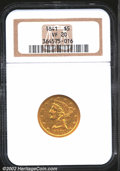 Liberty Half Eagles: , 1841 $5 VF20 NGC. Well worn with most of the fine details ...