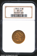 Liberty Half Eagles: , 1843-O $5 Large Letters VF25 NGC. Softly struck on the ...
