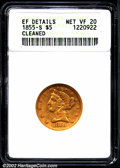 Liberty Half Eagles: , 1855-S $5--Cleaned--ANACS. XF Details, Net VF20. The ...