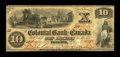 Canadian Currency: , Toronto, CW- The Colonial Bank of Canada $10 Ch. # 130-10-02-12....