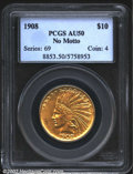 Indian Eagles: , 1908 $10 No Motto AU50 PCGS. The surfaces are bright with ...