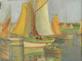Fine Art - Painting, American:Modern  (1900 1949)  , Style of EDGAR ALWIN PAYNE (American 1883-1947). Sailboats InThe Harbor. Oil on canvas. 17 x 24 inches (43.2 x 61 cm). ...