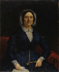 Fine Art - Painting, European:Other , EUROPEAN SCHOOL (Nineteenth Century). Portrait Of A Woman In ABlue Dress. Oil on canvas. 36 x 29 inches (91.4 x 73.7 cm...