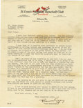 Autographs:Letters, 1925 Branch Rickey Signed Letter. Intriguing typed letter datedFebruary 5, 1925 on St. Louis Cardinals team letterhead der...