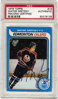 Hockey Collectibles:Others, 1979 Topps Wayne Gretzky #18, Signed. The most important arrival in modern hockey was announced by this Topps rookie card, ...