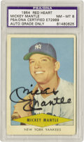 Autographs:Sports Cards, Mickey Mantle Signed 1954 Red Heart, Autograph Grade PSA NM-MT 8. Abooming black sharpie signature from the young man pict...