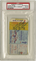 Autographs:Others, 1960 Roberto Clemente Signed World Series Ticket Stub. The Pittsburgh Pirates squeaked out a three to two win in the Bronx ...