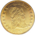 Early Eagles: , 1801 $10 AU53 PCGS. Breen-6843, Taraszka-25, BD-2, R.2. The depthof the lime-gold and apricot toning is this coin's most o...