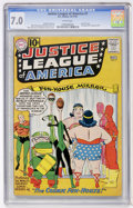 Silver Age (1956-1969):Superhero, Justice League of America #7 (DC, 1961) CGC FN/VF 7.0 White pages....