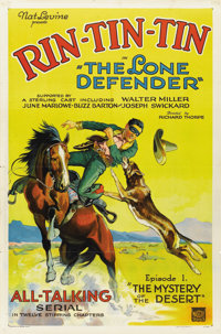 "The Lone Defender (Mascot, 1930). One Sheet (27"" X 41"") Episode One -- ""The Mystery of the Desert.""..."
