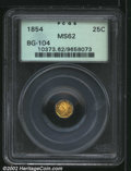 California Fractional Gold: , 1854 25C Liberty Octagonal 25 Cents, BG-104, R.5, MS62 PCGS....