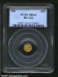 California Fractional Gold: , Undated 25C Liberty Round 25 Cents, BG-222, R.4, MS62 PCGS....