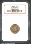 1858 P1C Flying Eagle Cent, Judd-204, Pollock-248, R.5, PR63 NGC. Flying Eagle pattern with a hook-necked eagle in fligh...
