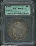"""1795 $1 Flowing Hair, Three Leaves AU53 ICG. B-7, BB-18. R.3. Die State I. This is the only 1795 Dollar with the """"1..."""