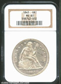 Seated Dollars: , 1845 $1 MS60 NGC. At the Mint State level of ...