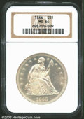 "Seated Dollars: , 1866 $1 MS64 NGC. As the first year of the ""with Motto"" ..."