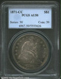 1871-CC $1 AU50 PCGS. Silver Dollar production at the Carson City Mint continued in 1871, but only 1,376 coins were deli...