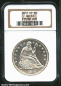 1872-CC $1 AU58 NGC. The Philadelphia Mint shipped two obverse dies to the Carson City Mint in 1872 for Silver Dollar pr...