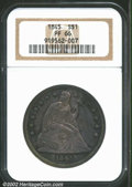 Proof Seated Dollars: , 1845 $1 PR66 NGC. Struck from the same reverse die as ...