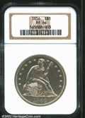 Proof Seated Dollars: , 1856 $1 PR64 NGC. This intriguing example was struck ...