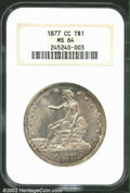Trade Dollars: , 1877-CC T$1 MS64 NGC. There is a blanket of silver-gray ...