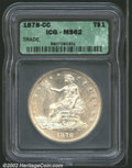 1878-CC T$1 MS62 ICG. In terms of total number of coins known, the 1878-CC is the rarest Trade Dollar. Federal records i...