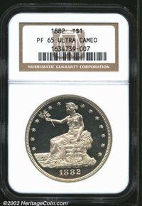 1882 T$1 PR65 Deep Cameo NGC. The eye appeal is nothing short of breathtaking on both sides of this heavily contrasted G...