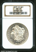 1879-CC $1 MS65 NGC. Bright, cartwheel luster characterizes the surfaces of this lovely and solidly graded Gem. A semi-k...