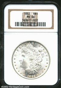 1882 $1 MS66 NGC. An underrated Morgan Dollar in this lofty condition, the coin has a pleasing, frosted texture and the...
