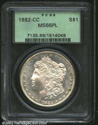 1882-CC $1 MS66 Prooflike PCGS. Conditionally rare as a prooflike and in such a superior grade, the fields glitter with...