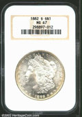 1882-S $1 MS67 NGC. The surfaces are creamy, highly lustrous, and virtually abrasion-free. The original mint brilliance...