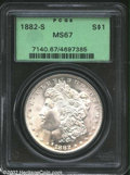 1882-S $1 MS67 PCGS. An immaculate specimen of this common date Dollar that is often used as a type coin. Unimprovable q...