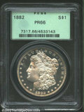 1882 $1 PR66 PCGS. A flashy, moderately contrasted proof Dollar that shows unfathomable depth of reflectivity in the fie...