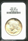 Peace Dollars: , 1921 $1 MS65 NGC. Struck in only one year with high ...