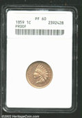 Proof Indian Cents: , 1859 1C PR60 ANACS. Light tan-gray in color, but the ...
