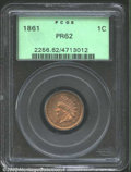 Proof Indian Cents: , 1861 1C PR62 PCGS. The tan-pink surfaces are overlaid in ...